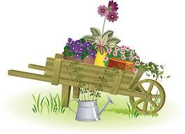 Illustration of a gardening wheelbarrow with flowers inside vector art illustration