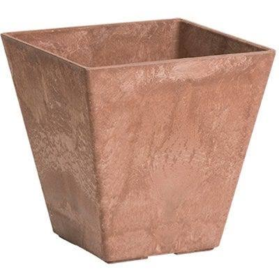Novelty Mfg Co Ella Planter, Water Minder, Rust Resin/Stone, 12-In. Square by True Value