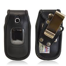 Samsung Gusto 3 Heavy Duty Black Leather Flip Phone Case with Removable Metal Clip