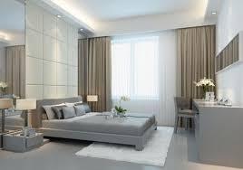 modernes schlafzimmer grau braun weiße gardinen braune