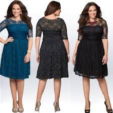 plus size lace dresses half sleeve black vintage women dressees