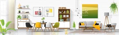 innenausbau mit wohnund esszimmerkombination vektor illustration stock vektor und mehr bilder architektur