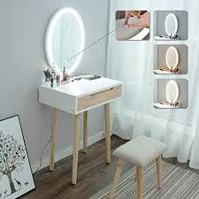 artethys schminktisch mit hocker spiegel mit 3 färben led beleuchtung kosmetiktisch mit schublade und einem aufbewahrungsbox für make up mädchen