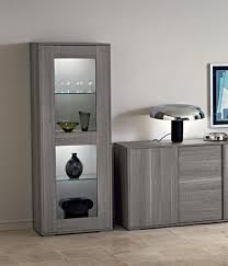 Best Marino Collection Modern 1 Door Display Cabinet In Grey Saw Oak Cabinets For Living Room Remodel