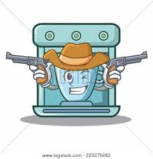 Cowboy Coffee Maker Character Cartoon Vector Illustration