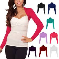 womens fitted long sleeve cardigan shrug cropped top casual bolero