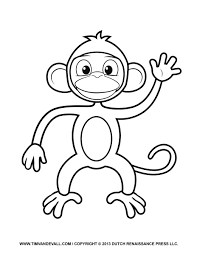 Printable Monkey Clipart Coloring Pages Cartoon Crafts For Kids