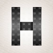 Paper Cut Font White Letter H On Dark Background Vector Image Of