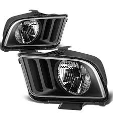 05 09 ford mustang replacement headlights black