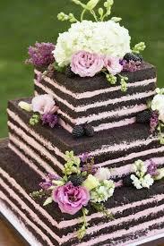 Chocolate And Pink Naked Wedding Cake