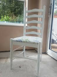 6 X Upcycled Shabby Chic White Dining Chairs | In Astley, Manchester |  Gumtree Roseberry Shabby Chic French Country Cottage Antique Oak Wood And Distressed White 7piece Ding Set Four Stripy White Blue Shabbychic Ding Chairs Hand Painted Finished In Woking Surrey Gumtree Table Chairs Best Of Ripley Chair Pine Round Room Height Lights Ballad Decoration Tables Balloon Back Antique White French Chic Ornate Ding Table Set With Decor Cozy Slipcovers For Inspiring Interior My Home Room Ideas Chic Diy Shabby Chrustic Chair Basil Chaise