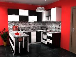 Black And White Kitchen Cabinets With Red Wall This Is Cool To If I Don