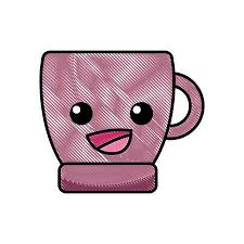 Grated Happy Coffee Cup Cartoon