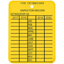 Plastic Fire Extinguisher 4 Year Inspection Tag