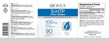 5 htp time release 100mg 90 tablets biovea supplements