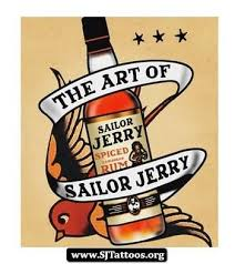 Sailor Jerry Banner With Bottle Tattoo