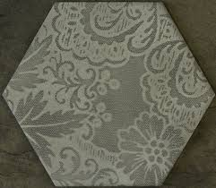 concrete look grey deco matt porcelain Hexagon tile