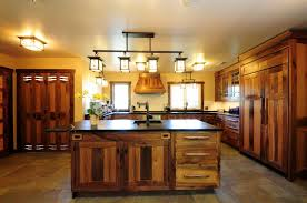 Rustic Kitchen Designed With Mission Style Island Lighting
