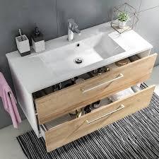 badezimmer möbel set fes 3065 66 100cm waschplatz mit spiegel und hochschrank in weiß matt riviera eiche nb b h t 192 6x166 8x44 7cm