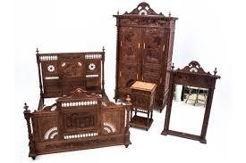 geschnitztes antikes schlafzimmer frankreich um 1880