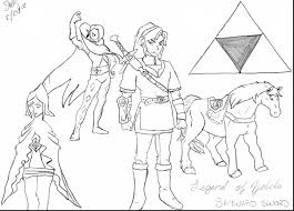 Awesome Zelda Skyward Sword Coloring Pages With And Ocarina Of Time