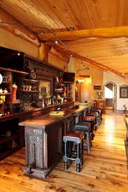 Irish Pub Style Bar Home Rustic With Stools And Counter