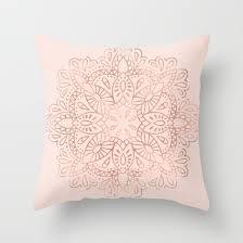 Mandala Rose Gold Pink Shimmer on Blush Pink Throw Pillow by