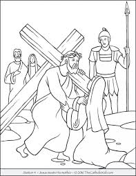 Coloring Pages For Lent And Easter Stations Cross Meets His Mother Free Catholic Bible