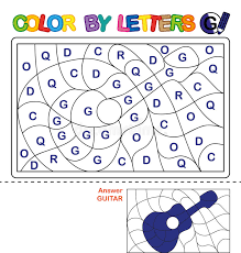 Color By Letter Puzzle For Children Guitar Stock Vector