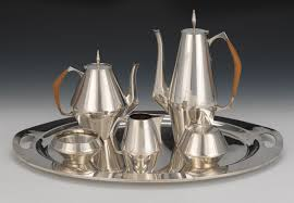 Reed Barton Sterling Silver Tea Coffee Service In Diamond Pattern