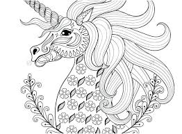 Unicorn Coloring Pages For Adults Sheets Concept Hand Drawing Adult Anti Stress Stock