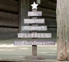 Burtonandburton Natural Wood Slat Christmas Tree Decor With Hand Painted White
