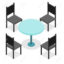 Four Black Chairs And Blue Round Table. Flat Isometric. Wood.. Chner Round Table Table Chairs Wood Style Metal Legs Coffee Modern Round Best Choice Products Kids Midcentury Eames Ding Room Set W 2 Armless Leg Gray Traditional Room Images By D2 Interieurs Small Tables And Appealing Height Light Stylish Interior With White Chairs And Functional Dinette 5 Pieces Fniture Harbor View Chair Lexington 5piece 4 Slat Back Chelsea Package Beige How To Find The Right For Your