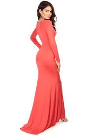 coral high low mermaid long sleeve maxi dress