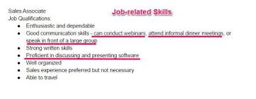 Step 1 Go Through The Job Description To Find Related Skills That Are Required For Position