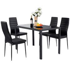 Giantex 5 Piece Kitchen Dining Table Set With Glass Table Top Leather  Padded 4 Chairs And Metal Frame Table For Breakfast Dining Room Kitchen ... Ding Studio Room Fniture Coricraft Costway 5 Piece Outdoor Patio Rattan Table Cushioned Chairs Set Fdw Kitchen Marble Rectangular Breakfast Wood And Chair For 2brown Lexton With 18 Leaf By Coaster At Dunk Bright Adler 4 Side 2 Upholstered Step Inside 47 Celebrity Rooms Architectural Digest Country Style 1825 Interiors Modern Contemporary Glass Leaves Value City 30 Black White That Work Their Monochrome Magic Jaxon Grey Round Extension Wwood How To Paint A Home Guides Sf Gate