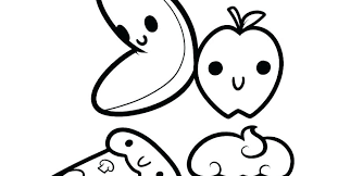 Kawaii Food Coloring Pages Fruit Cute