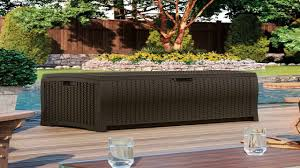 suncast dbw9200 mocha wicker resin deck box 99 gallon youtube