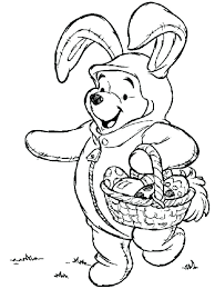 Disney Easter Coloring Pages The Pooh On Bunny Costume Cute