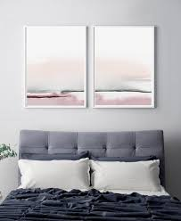 schlafzimmer print set druckbare wandkunst satz 2 drucke abstrakte wandkunst druckbare abstrakte kunst erröten rosa und grau kunst