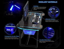 bureau pc gamer e blue wireless glowing led pc gaming desk table