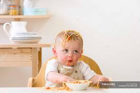 Baby Boy In High Chair Eating Spaghetti — Copy Space, One ...
