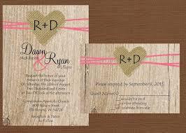 DIY Rustic Wedding Invitation Burlap Heart On Etsy 2500