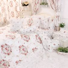 Chinese Peony Printing Ruffled Bedding Sets Romantic Lace Duvet Cover Set Rustic Vintage