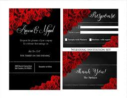 Elegant Red And Black Wedding Invitations Thank You Cards Rsvp