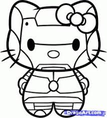 Iron Man Hello Kitty Coloring Sheet SuperHero SuperHeroes Hero Heroes ColoringSheets