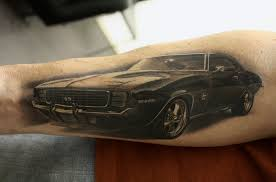 Black And Grey 69 Camaro Car Tattoo Forearm