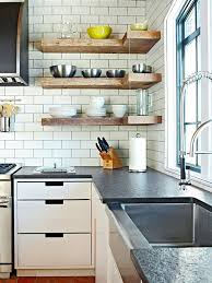 Kitchen Wood Shelves Introduce Thick Rustic Planks In The Form Of Floating To