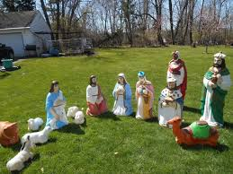 Vintage Halloween Blow Molds by Life Size Blow Mold Nativity Set Christmas Light Vintage Lot