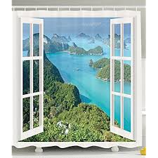 Tropical Window Art Curtains by Window Island Curtains Amazon Com